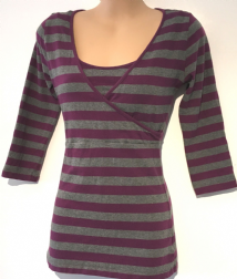 BLOOMING MARVELLOUS MATERNITY PINK/GREY STRIPE 3/4 SLEEVE TUNIC TOP SIZE S 10